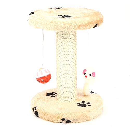 Tiragraffi per gatti, piccolo albero di gatto con ripiano superiore rotondo Letto per arrampicata animale Scratcher appeso palla giocattolo del mouse per gattino Gatti piccoli (Impronta gialla)