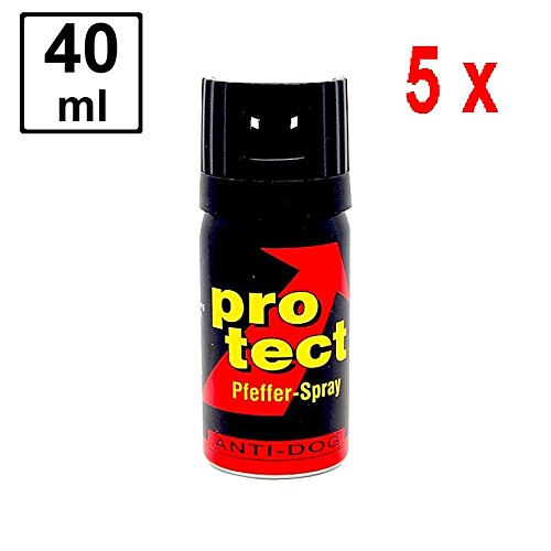 5 x PROTECT Pfefferspray Anti-Dog zur Abwehr von Tieren - 40 ml - Breitstrahl -
