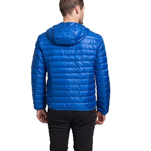 Linyuan Mode Mens Winter Lightweight Down Jacket Warm Outwear Hooded Jacket Orange