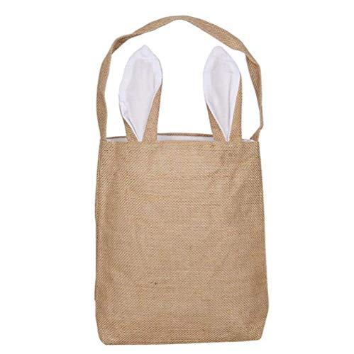 nohren Tasche für Eierhunde, Ostern, Kaninchenkorb, personalisierbar, Geschenk-Tragetasche, für Kinder White-Jute ()