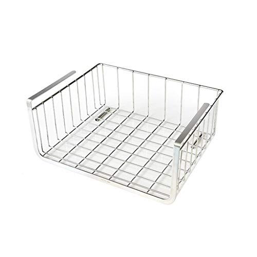 ZH Unter Ablagekorb, unter Schrank-Regal, Drahtkorb-Organisator für Küchenpantry-Schreibtisch-Bücherregal-Schrank,Premium rostfreier Edelstahl - Silber (größe : 35×28.5×15cm) -