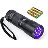 TaoTronics® UV Flashlight Blacklight Pets Urine Detectors Dogs Stains Detector Cats Odor Detector, Find Stains on Carpet, Rugs (12 Ultraviolet Leds,Duracell AAA batteries Included)
