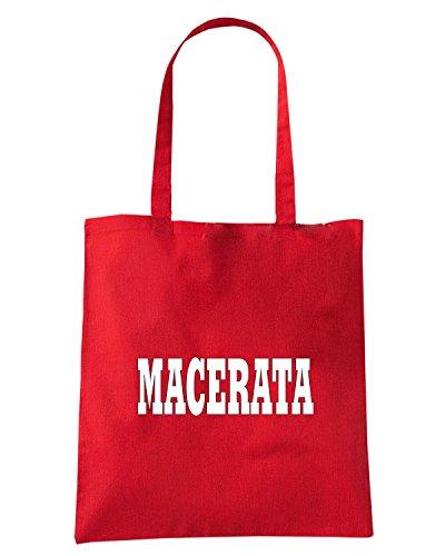 T-Shirtshock - Borsa Shopping WC0937 MACERATA ITALIA CITTA STEMMA LOGO Rosso