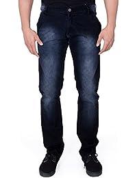 JUGEND Dark Blue Washed Stretchable Regular Fit Jeans for Men