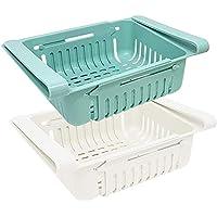 joeji's Kitchen Lot Boite de Rangement frigo (x 2) / Rangement Cuisine & frigo rétractable en 2 Couleurs (Bleu et Blanc)
