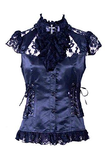 rq-bl Hemd Schwarz mit Spitze Lederschnürung und Jabot mit Kreuz Elegante Elegante Gothic RQBL Gr. S, schwarz (Chemise Elegante)