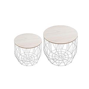 DuNord Design Beistelltisch Korb Metall rund 2er Set Couchtisch Arezzo grau Eiche Tisch Ablage