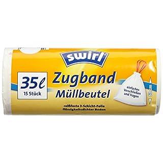Swirl Zugband-Müllbeutel, 35 Liter, 3 Rollen mit je 15 Beuteln, Weiß