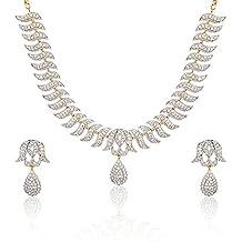 YouBella Stylish Latest Traditional Jewellery Gold Plated and American Diamond Jewellery Set for Women (White)(YBNK_3082_FON)