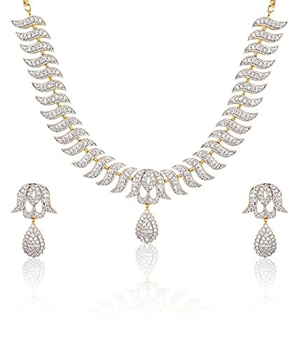 YouBella Jewellery American Diamond Gold Plated Necklace Set / Jewellery Set with Earrings for Women