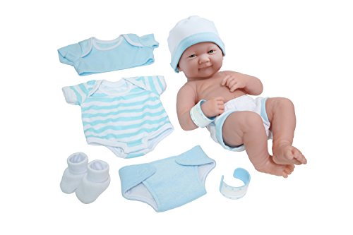 Die Newborn Nursery 8 Piece Layette Baby Doll Gift Set, Featuring 14 Life-Like Smiling Newborn Doll, Blue by JC Toys Baby Boy Layette Set