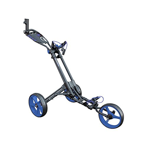 Masters Golf – ICart One – 3 Wheel One Click Push Trolley Grey/Blue