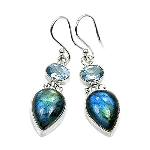 Mystic Princess' Sterling Silver Labradorite, Blue Topaz Dangle Earrings