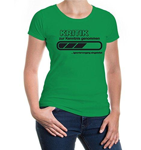 buXsbaum® Girlie T-Shirt Kritik zur Kenntnis genommen Kellygreen-Black