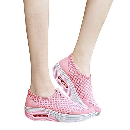 (MYMYG Frauen Sneaker Turnschuhe Outdoor Mesh Casual Sportschuhe Dick-Soled Air Cushion Schuhe Sportschuhe Leicht Laufschuhe Atmungsaktiv Fitnessschuhe Frühling)