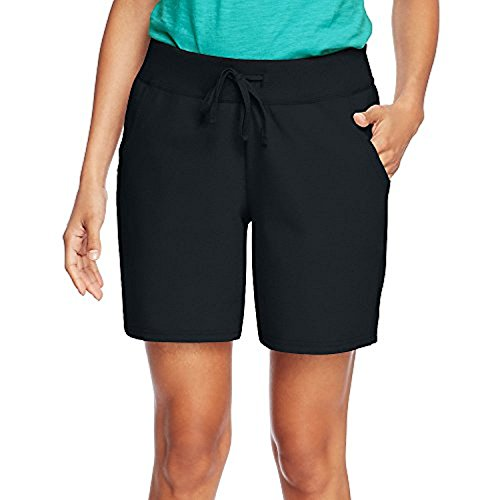Hanes Womens Jersey Pocket Short O9264_Black_L