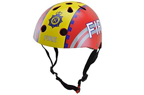 kiddimoto 2kmh025m - Design Sport Helm Fire Fighter, Feuerwehrmann M für Kopfumfang 53-58 cm, 5-12+ Jahre