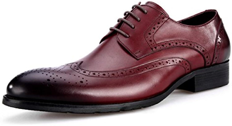 DKFJKI Zapatos De Hombre De Cuero De Estilo Británico Zapatos De Hombre Tallados Bullock Trajes De Negocios Zapatos... -