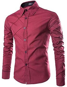 Camicia Uomo Slim Fit Maniche Lunghe Maglietta T-Shirt Collo Tradizionale Tinta Unita Stile A Quadri Camicetta...