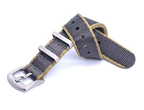 NATO Strap 18mm/20mm/22mm Grau-Khaki aus Heavy Duty Militär G10 Seatbelt-Nylon Uhrenarmband -