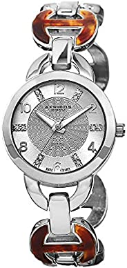 Akribos XXIV Women's AK699SS Lady Diamond Silver-Tone Watch with Two-Tone Brac