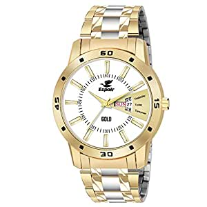 Espoir Analogue Stainless Steel White Dial Day and Date Boy's and Men's Watch - TwoToneOliverGold