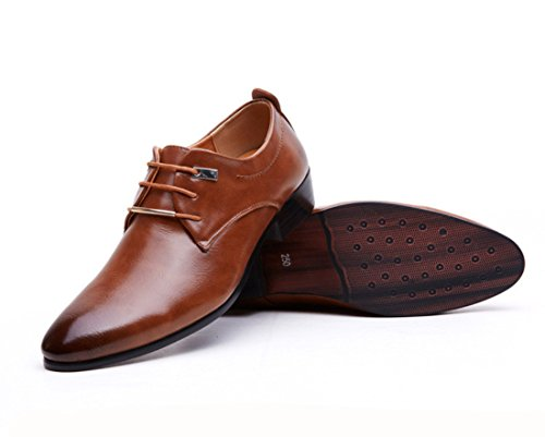 Men's Flas Italian Pointed Toe Brogue Oxford Shoes Brown new