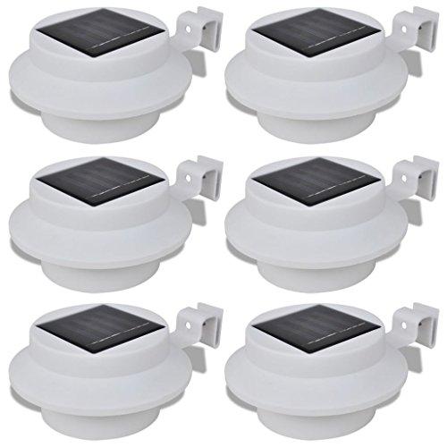 vidaXL 6x Lampe Solaire LED Clôture/Gouttière/Jardin Blanc Éclairage de Jardin