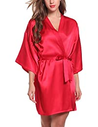 ADORNEVE Femme Robe de Nuit Kimono Satinée Courtes Nuisette Sexy 2 Pcs