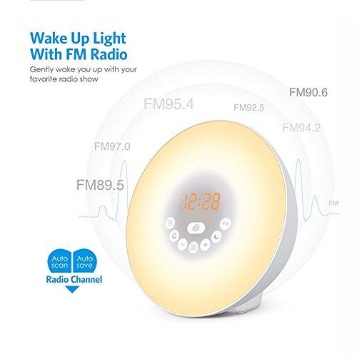 Lemonda Despertador de Luz Salida del Sol Reloj de Alarma 7 Colores Noche Luz con Sonidos Naturales,Función de Dormitar, Radio FM,Control Táctil y Cargador USB