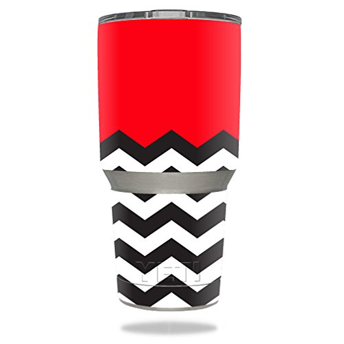 MightySkins Skin for Yeti Rambler Tumbler Red Chevron 30 oz Tumbler