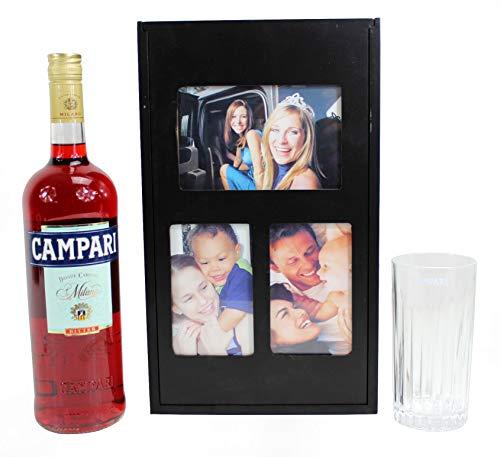 PINTT Holz Flaschenkiste Fotobox inkl. 1,0l Campari Likör und Longdrink-Glas ~mn 938 1255++
