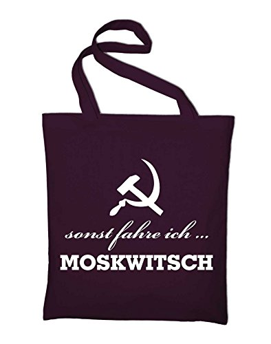 sonst fahre ich Moskwitsch AZLK Logo Jutebeutel, Beutel, Stoffbeutel, Baumwolltasche, gelb Bordeaux