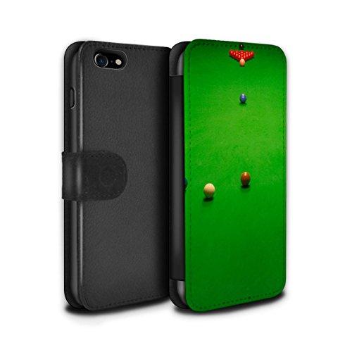 Stuff4 Coque/Etui/Housse Cuir PU Case/Cover pour Apple iPhone 7 / Craie/Poche Design / Snooker Collection Baulk