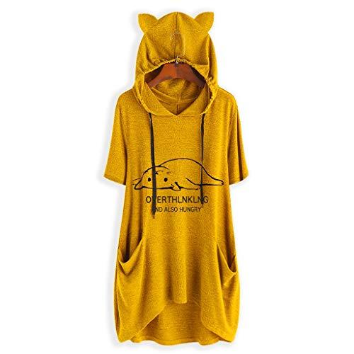 iHENGH Damen Top Bluse Lässig Mode T-Shirt Frühling Sommer Frauen Bequem Blusen Casual Print Lange Ärmel Seitentasche Mit Kapuze Unregelmäßige Tops Shirts(Gelb-3, M) (Kim Roten Kardashian Kleid)