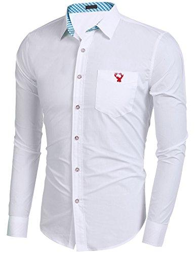 Burlady Hemden Herren Trachtenhemden Karohemd Langarm Freizeithemden Karrierte Einfarbig Shirts mit Gestickten Elch Super Qualität Aquamarin