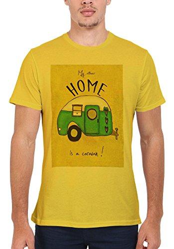 My Other Home is a Caravan Fun Men Women Damen Herren Unisex Top T Shirt Licht Gelb