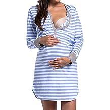 GUCIStyle Camisón Embarazada Maternidad Lactancia Pijama Manga Larga Hospital Mujer Embarazada Ropa para Dormir Premamá S