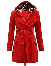 f0c5adebbd01 Baijiaye Long Manteau Laine pour Femmes Hiver Col Fourrure Cintrée Trench  Coat Bas Jupe avec Ceinture