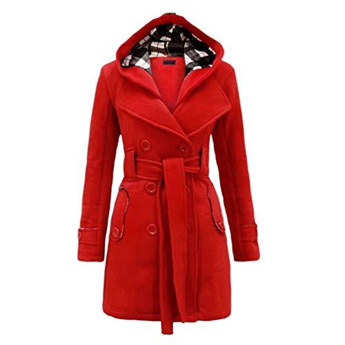 Baijiaye Long Manteau Laine a Capuche pour Femmes Hiver Cintrée Trench Coat avec Ceinture Duffle Coat Chic Parka Rouge