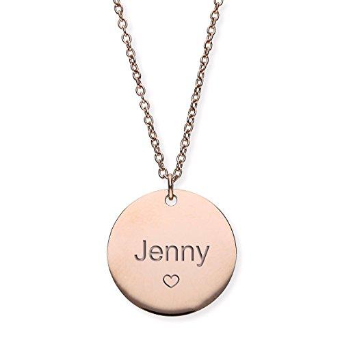 URBANHELDEN - Damen-Kette mit Wunschgravur Anhänger - Personalisierte Namenskette Amulett aus Edelstahl mit eingraviertem Herz - Big Rosegold G2 Gold Hals