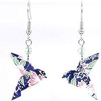 Boucles d'oreilles colombes origami bleues avec des fleurs roses - crochets inox