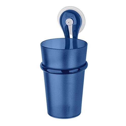 Koziol Loop Zahnputzbecherhalter mit Saugnapf und Zahnputz Becher, Transparent Deep Velvet Blue, 300 ml, 5822645