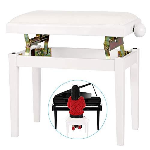 Neewer NW-018A 71,50 x 18 x 37 Zentimeter Höhenverstellbare Klavierbank mit Samt Sitz und Gummifüße Perfekt für Grand Pianos, Aufrechte Klaviere (Weiß)