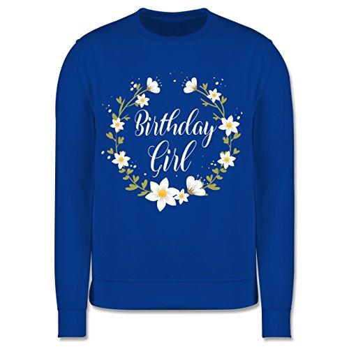 Shirtracer Geburtstag Kind - Birthday Girl Flowers - 5-6 Jahre (116) - Royalblau - JH030K - Kinder Pullover Bonny Flower Girl