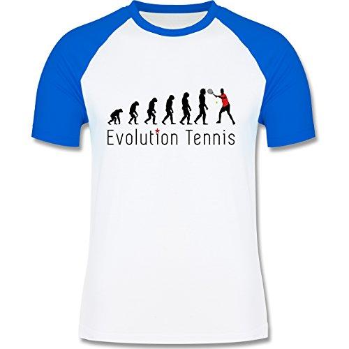 Evolution - Tennis Evolution - zweifarbiges Baseballshirt für Männer Weiß/Royalblau