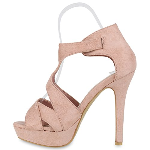 Damen Sandaletten | Plateau Sandaletten Strass | Stiletto Cut-Outs Schuhe | Party High Heels Metallic Lack | Partyschuhe Veloursleder-Optik Rosa Schnalle