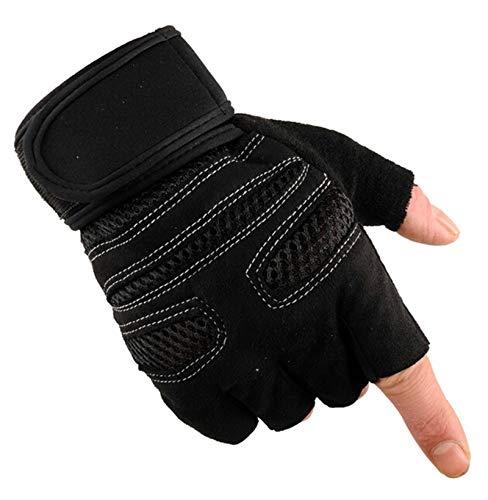 (LOUMVE Fahrradhandschuhe Motorradhandschuhe Winddicht Mountainbike Fitness Handschuhe Halbfinger Outdoor Sports Handschuhe Demen Herren Schwarz L)