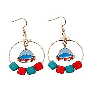 Cute Airship Red and Blue Logs Alloy Drop Hook Earrings Drop Dangle for Women Girls