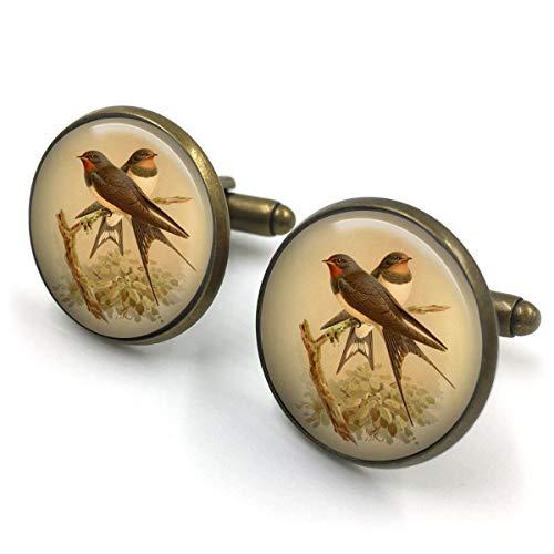 Butterfly N Beez Antike Bronze Swallow Manschettenknöpfe  englische Schwalbe  Geschenk für ihn  Geschenk für Männer  Malerei  englischer Vogel  britische Vögel  Geschenk